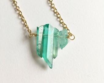 Natural Emerald Green Quartz Stone Gold Necklace