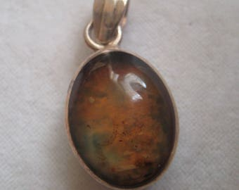 Dominican Republic Double Sided Pendant Drop, Larimar & Amber, .925 Sterling Silver, 18mm x 14mm, 1 Double Sided Pendant