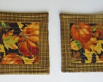 Fall Quilted Mug Rug Mug Mat, Fall Autumn Quilted Coasters, Pumpkin Mug Rugs, Fabric Coasters, Fall Leaves Pumpkin Mug Rugs, Fall Mug Mats