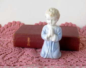 Praying Boy Figurine. Collectible Knick Knack. Vintage Child's Room or Baby Nursery Decor. Curio Cabinet Display. New Mother Gift.