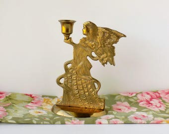 Brass Angel Candle Holder. Wedding Table Decor. Vintage Christmas Decoration. Holiday Centerpiece. Housewares. Home Accessory.