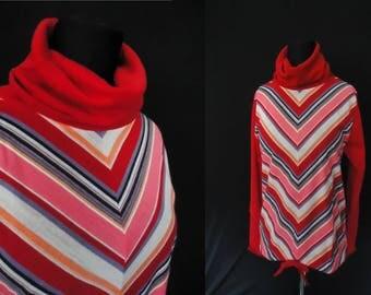 COWL Turtleneck Red Chevron Striped Vintage 1960's NOS Women's Shirt M