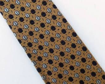 """Vintage 60's Skinny Tie Necktie in Gold with Black Dots and Gray Circles 2.25"""""""