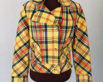 Vintage 60's 70's Jacket Cropped Double Breasted Plaid Yellow Red Blue Mod Size XS / S