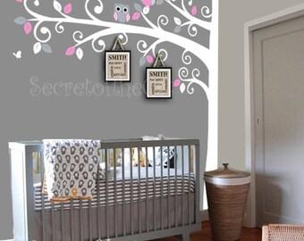 Nursery wall decal - Wall Decals Nursery -  Corner Tree Wall Decal. Girl Wall Decal Tree. Nursery Decals - Tree Girl