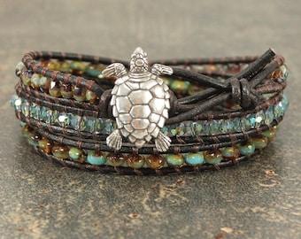 Artisan Turtle Jewelry Silver Turquoise Green Topaz Turtle Bracelet