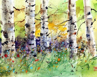 ASPEN BIRCH TREE Watercolor Print by Dean Crouser