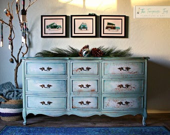 Perfect Blues on This Perfect French Provincial Triple Dresser