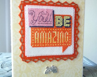 You'll Be Amazing, Hand Stitched Greeting Card