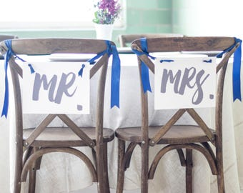 Mr. & Mrs. Hanging Banners | Set of 2 Chair Signs | Handmade USA | 1087 BW