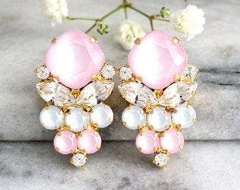 Pink Earrings, Powder Pink Earrings, Bridal Powder Pink Earrings, Pastel Earrings, Aqua Pink Earrings, Bridesmaids Earrings, Gift For Woman