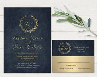 Navy Blue Gold Wedding Invitations Printable Industrial Wedding Fall Wedding Invite Set Gold Wedding Invitation Suite Laurel Wreath Template