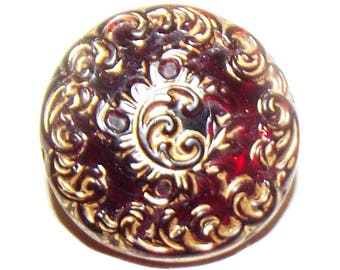 Antique Button ~ Ruby Red Glass Button ~ Victorian Button Ruby Red Lacy Glass Button
