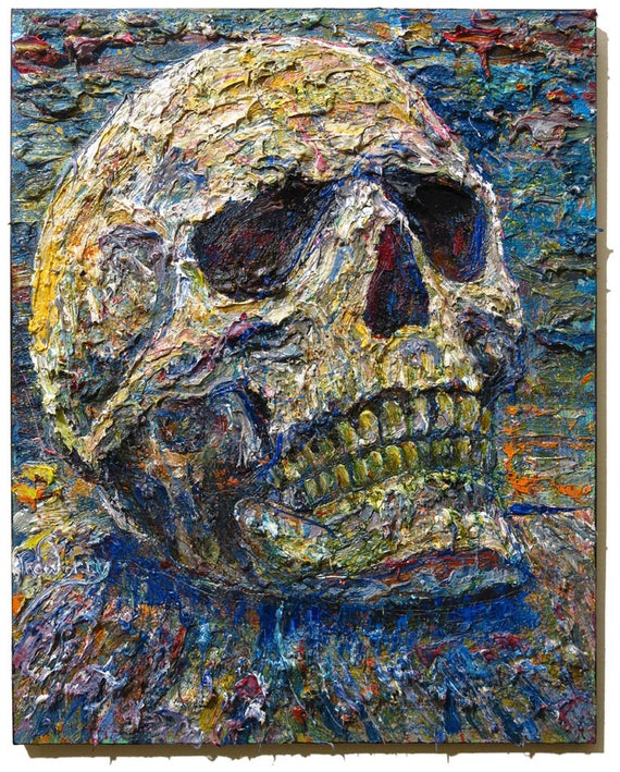 Oil Paint on Stretched Canvas of 30 by 24 by 3/4 in. / Original oil painting  vintage art abstract skull outsider signed expressionism