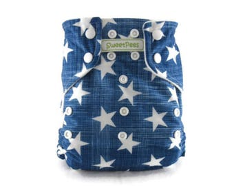 SweetPees WFREE Large UltraTRIM Zorb II Prefold Soaker Insert Cloth Diaper Cover Low Shipping Light Blue White Stars Military AIO
