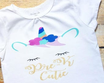 Pre-K Cutie Unicorn Tee Size 4T-Ready to ship!