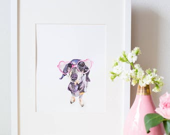 Dachshund Dog Watercolor Print, Wiener Dog Wall Art, Sausage Dog Art, Doxie Art - 8x10