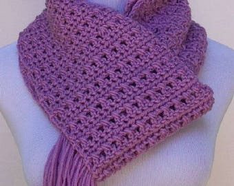Lilac Crochet Scarf, Crochet Scarf, Fringed Lilac Scarf, Crochet Neck Warmer,  Fringed Neck Scarf, Scarf for Men, Scarf for Women