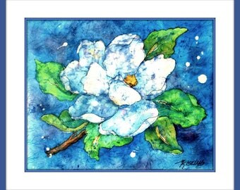Watercolor Batik White Magnolia by Martha Kisling