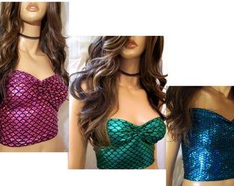Mermaid Top, Halloween Mermaid Top, Mermaid Costume, Fishscale Blouse, Designs By Loure, Sexy Costume Top, Mermaid Costume Top Crop Top
