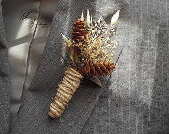 Ships in 5 days ~ Rustic Pine Cone Boutonniere with twine wrapped stem.