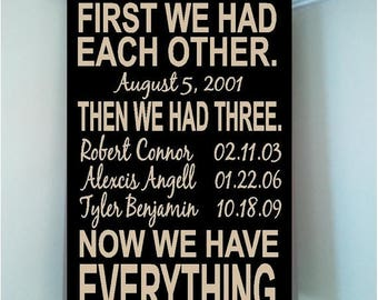 ON SALE Personalized 8x12 wooden sign w vinyl quote First we had each other...Then we had three...Now we have everything