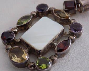 Vintage pendant, multi gemstone and sterling silver pendant, garnet, amethyst, peridot, topaz, MOP pendant,jewelry