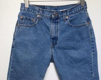 "Vintage Levi's denim shorts 505, blue denim shorts, 90s Levis denim shorts 1990s, Grunge denim shorts,  high waisted vtg, waist size 29""/28"""