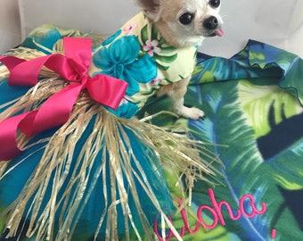 Aloha Princess, custom made and sized dog costume, Hawaii hula dog costume, Beach Luau dog costume, fancy  grass skirt,