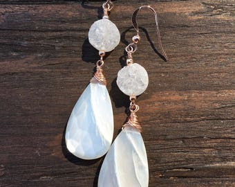 White moonstone earrings, rose gold earrings