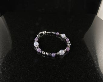 SALE! Calming, Transition & Balance bracelet with Iolite, Lepidolite and Hematite (2384)
