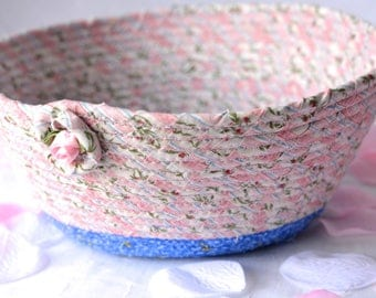 Pink Nursery Basket, Handmade Pink Bowl, Pink Floral Gift Basket, Desk Organizer, Pink Girl Decoration, Bath Towel Holder, Accessory Bowl