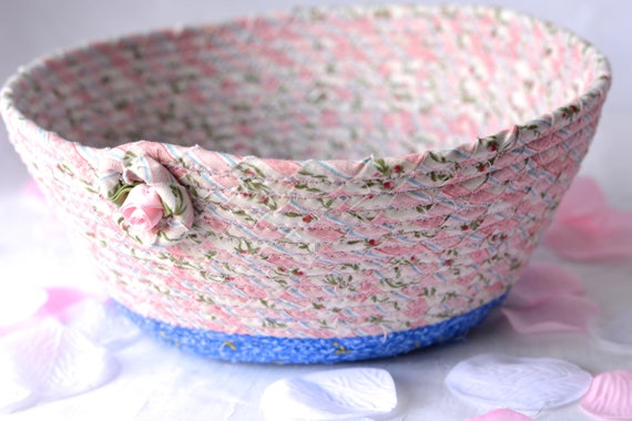 Pink Nursery Basket, Handmade Pink Bowl, Pink Floral Gift Basket, Easter Decoration, Pink Girl Decoration, Bath Towel Holder, Accessory Bowl