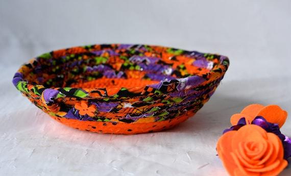 Halloween Candy Bowl, Orange Fabric Basket, Fall Desk Accessory Basket, Change Dish, Coin Holder, Fall Halloween Decoration