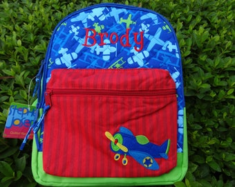Personalized Stephen Joseph Boys Backpack, AIRPLANE Backpack, BOYS Rucksack, Toddler Backpack, Preschool Backpack, BoysBook Bag