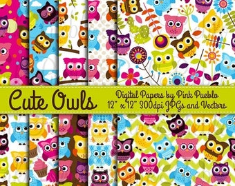 BACK TO SCHOOL Sale Cute Owl Digital Printable Papers Scrapbook Papers or Wallpaper Backgrounds - Commercial and Personal Use