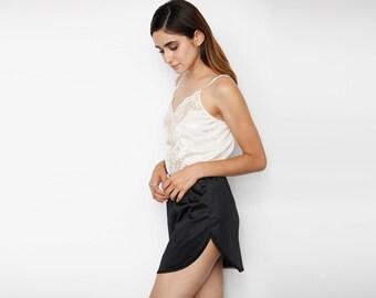 Black Slip Skirt Lace Trim