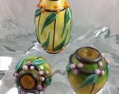 Bahama Mama; set of lampwork focals by JC Herrell