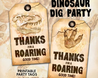 Dinosaur Dig Excavation Party Printable Favor Gift Party Tag Instant Download Print Your Own