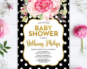 Black and White Polka Dots and Pink Floral Baby Shower Invitation, It's a Girl, Glitter Gold Floral Glam Baby Shower Printable Invitation
