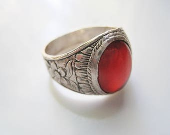 Vintage  Silver Aqeeq Ring for a Man made of Sterling Silver and Carnelian, Gift for Him, Size 12 3/4