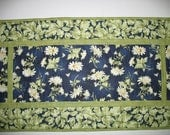RESERVED FOR MARCIA Floral Table Runner, Daisy, Summer, fabric from Maywood, handmade,quilted table runner