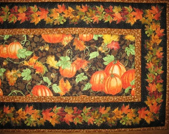 Sale Christmas in July Fall Table Runner, Thanksgiving, Autumn, handmade, quilted, fall leaves, pumpkins, birds, horn a plenty, Wall hanging