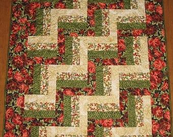 Sale Christmas in July Floral Lap Quilt, Throw,  small quilt, quilted, handmade quilt, fabric  Robert Kaufman