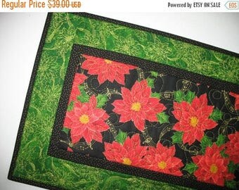 Sale Christmas in July Christmas Table Runner, Poinsettias,  fabric from Quilting Treasures
