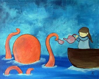 Original Nursery Wall Art Octopus Tea Party Ocean Sea Little Girls Room Decor Children Art Work Baby Gift Idea Whimsical Cute Storybook Art