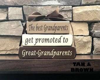 """Grandma/mothers day """"MINI""""stacker blocks--The best Grandparents get promoted to Great-Grandparents"""
