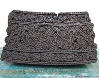 ANTIQUE INDIAN hand carved textile printing fabric block stamp c. early 1900's  - Home Decor Ethnographic Art