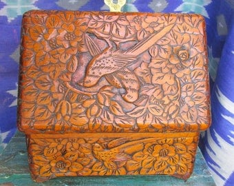 Vintage Carved Wood Box with Birds and Flowers - Hand Carved Chinese Box