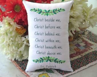St. Patrick Prayer Embroidered Pillow